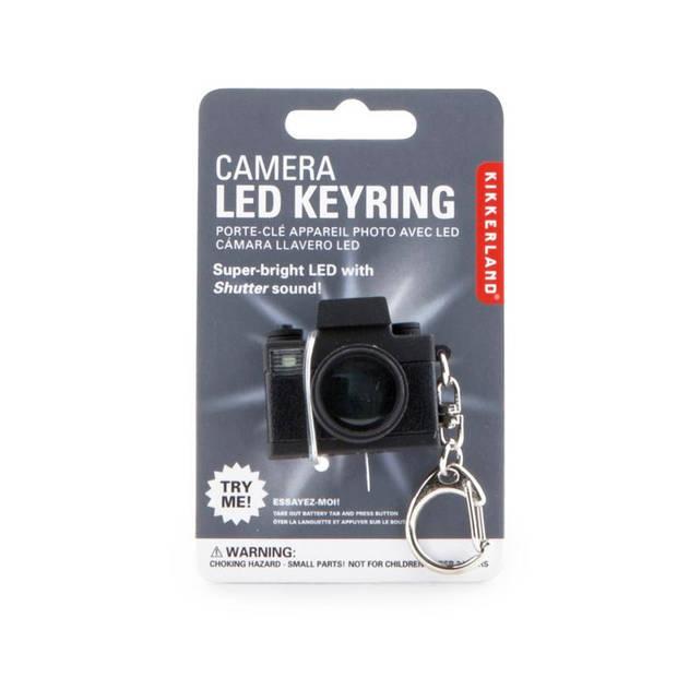 Kikkerland sleutelhanger camera led 3,5 x 3 cm zwart