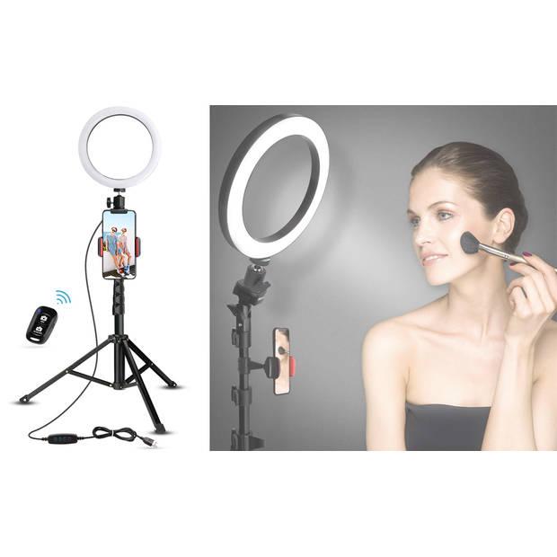 FEDEC Smartphone Statief Met LED Ring - Ring Lamp - Universeel - 95 cm - Tripod - Inclusief Afstandsbediening