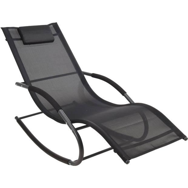 Schommelstoel lounger met hoofdkussen