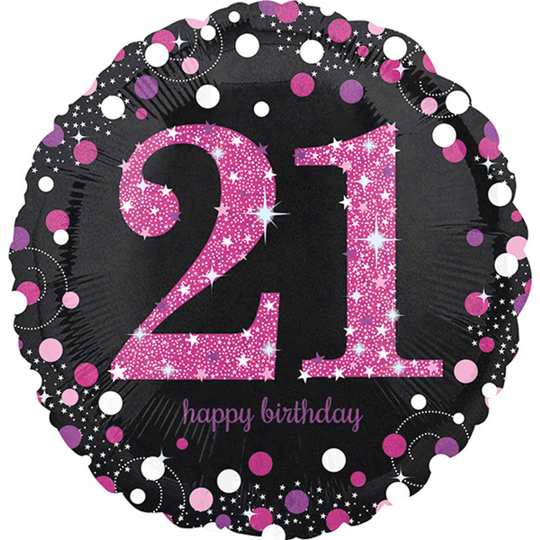 Korting Sparkling Celebrations Folie Ballon 21 Pink (43 Cm)