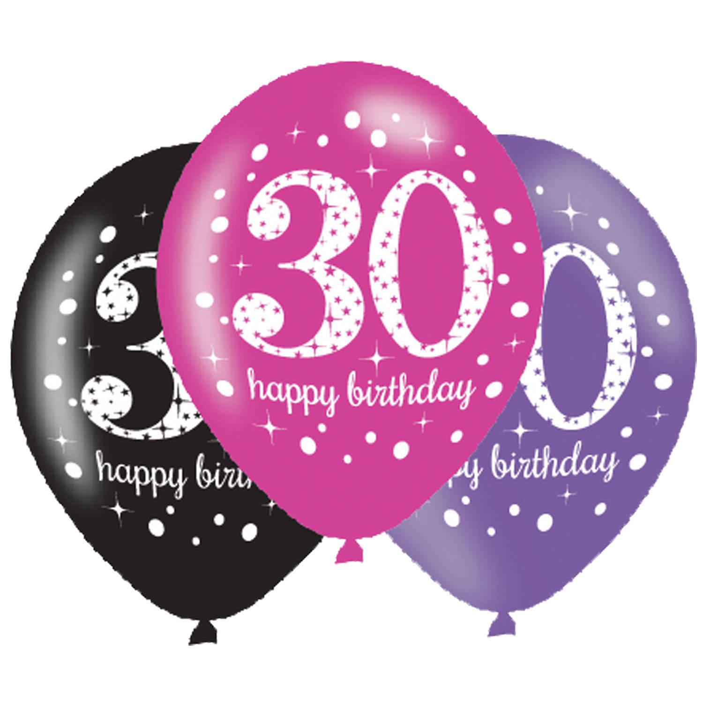 Korting Sparkling Celebrations Ballon 30 Pink (6 Stuks)