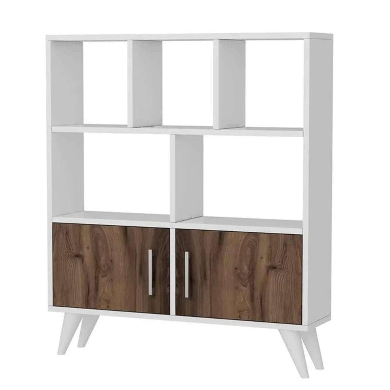 Homemania Boekenkast Ducky 90x22x105 Cm Wit En Walnootkleurig online kopen