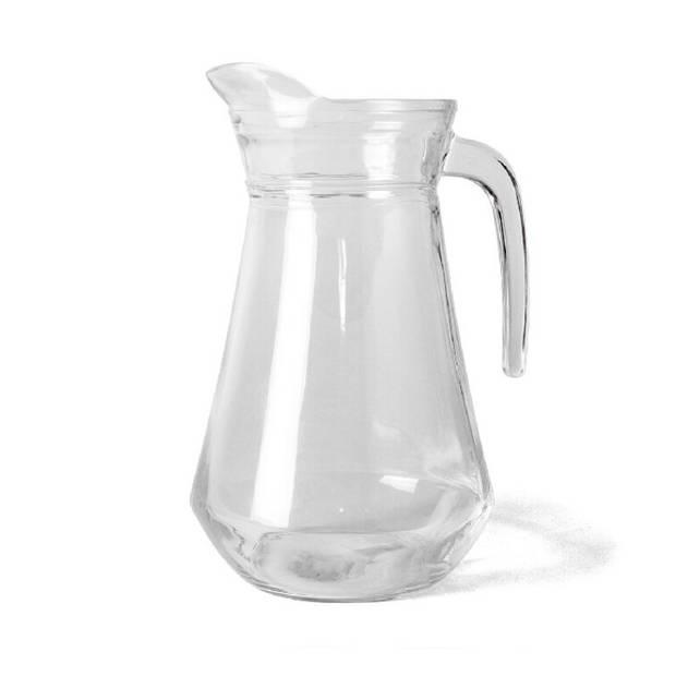1x Glazen water karaffen/waterkannen 1 liter - Karaffen
