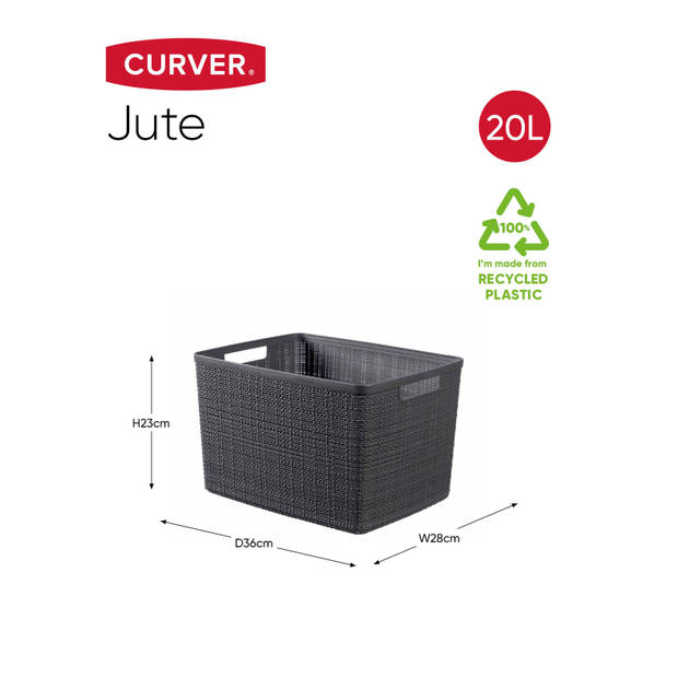 Curver Jute Mand - L 20L - Donkergrijs