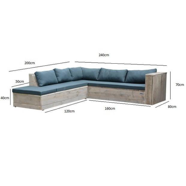 Wood4you - Loungeset 7 steigerhout 200x240 cm - incl kussens (L-vorm)
