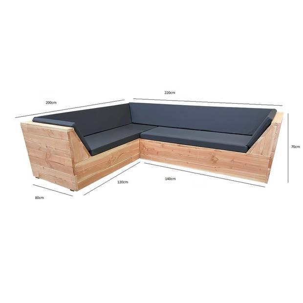 Wood4you - Loungeset 6 Douglashout 220x200 cm - incl strakke kussens L-vorm