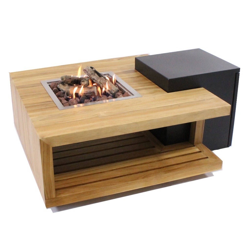 Enjoyfires Vuurtafel Loungetafel Teakhout Vierkant 90x90x40 Cm
