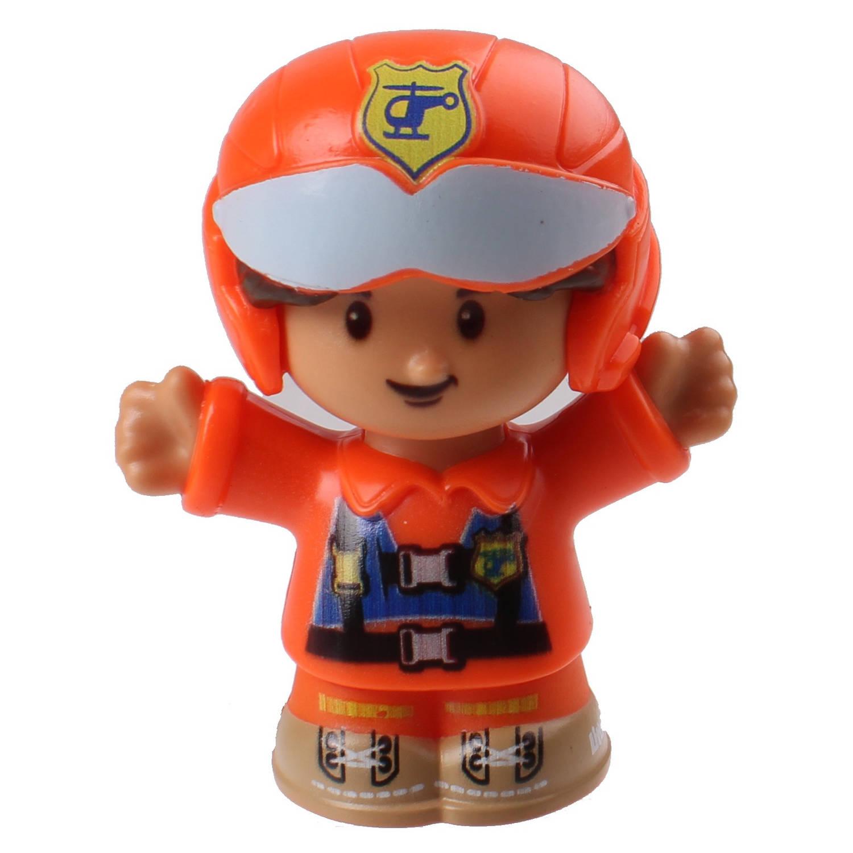 Fisher Price Little People Piloot junior 6 cm oranje