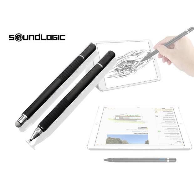 Soundlogic Stylus pen - Set van 2 - 0.27'' Precision disc - Zwart