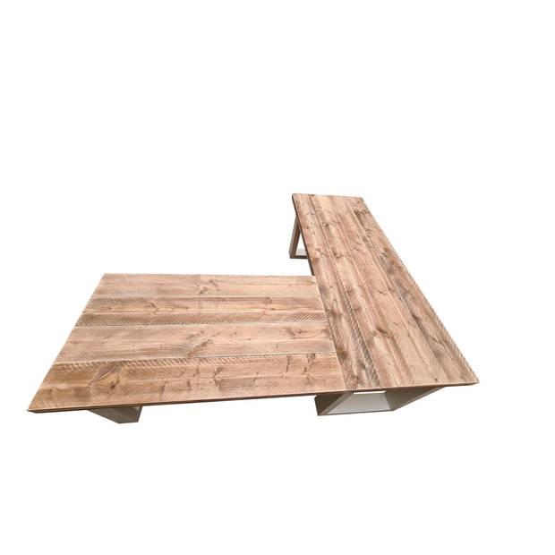 Wood4you New England hoekbureau steigerhout 200/130Lx72Dx75H