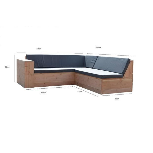 Wood4you - Loungeset 1 Douglas 240x200 cm - GL-vorm incl kussens
