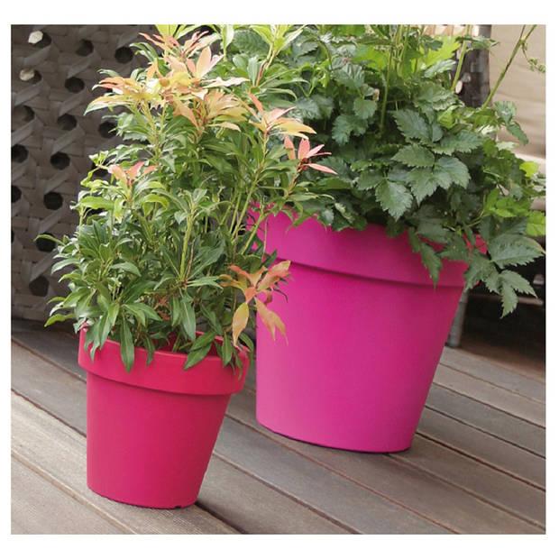 1x Kunststof bloempotten 30 cm taupe - Bloempotten/plantenpotten voor binnen en buiten
