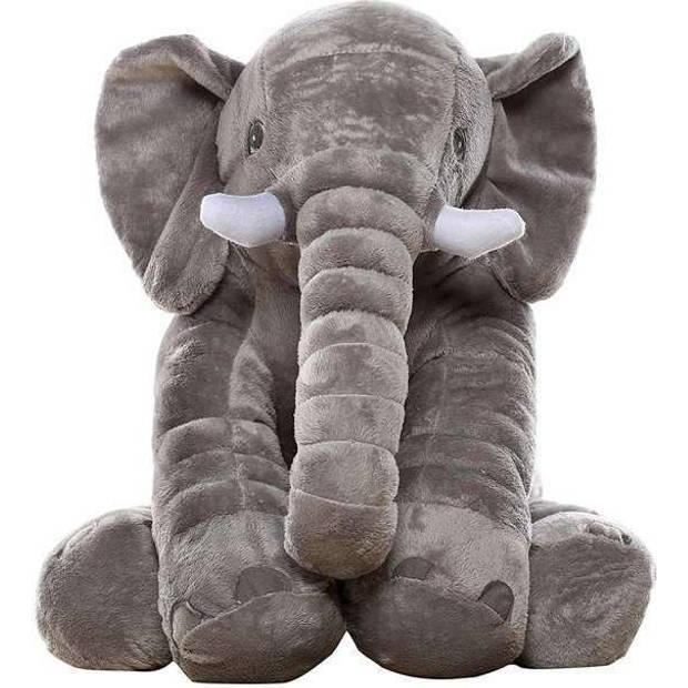 iBello knuffel kussen olifant XL - Grijs