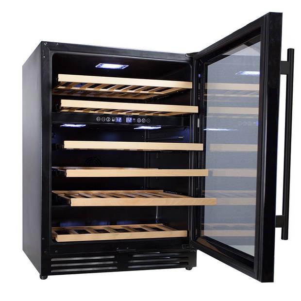 Vinata Wijnklimaatkast Premium met zwarte deur - 51 Flessen