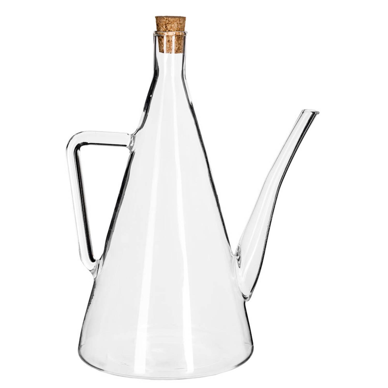 Decopatent® Olie Of Azijn Fles Glas - Met Schenktuit - Handvat - Kurk