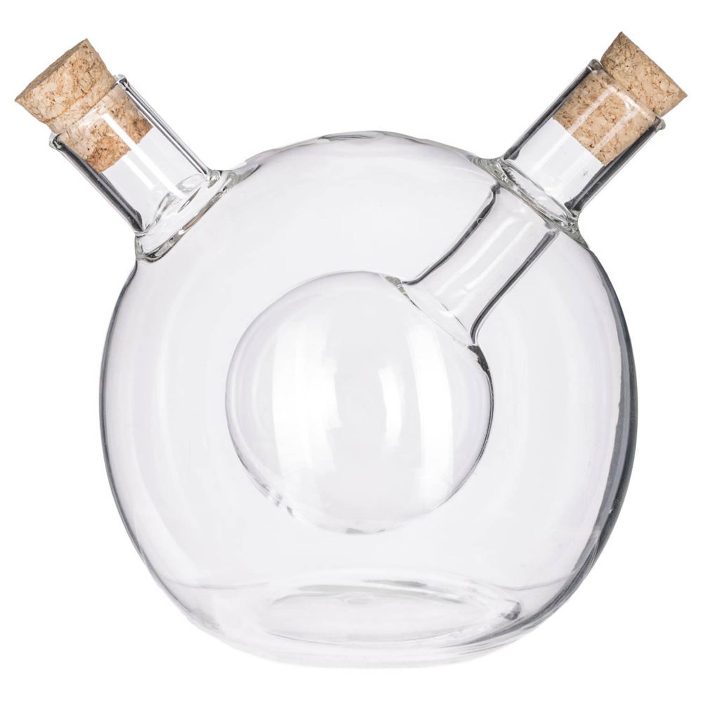 Decopatent® 2in1 Olie En Azijnstel Glas - Bolvorm Met Kurken - Glazen