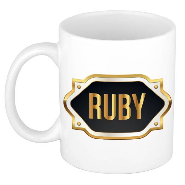Ruby naam cadeau mok / beker met gouden embleem - kado verjaardag/ vaderdag/ pensioen/ geslaagd/ bedankt