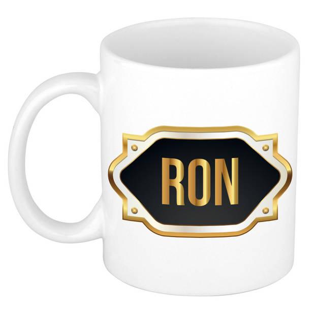 Ron naam cadeau mok / beker met gouden embleem - kado verjaardag/ vaderdag/ pensioen/ geslaagd/ bedankt