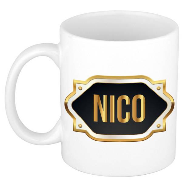 Nico naam cadeau mok / beker met gouden embleem - kado verjaardag/ vaderdag/ pensioen/ geslaagd/ bedankt