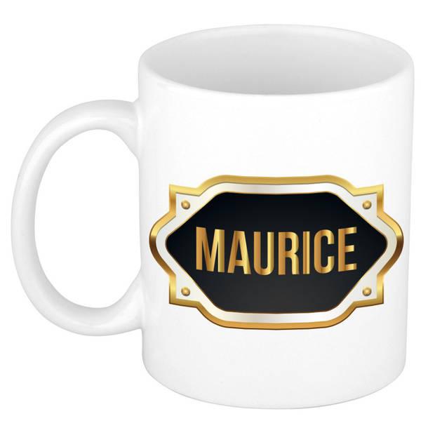 Maurice naam cadeau mok / beker met gouden embleem - kado verjaardag/ vaderdag/ pensioen/ geslaagd/ bedankt