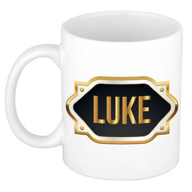 Luke naam cadeau mok / beker met gouden embleem - kado verjaardag/ vaderdag/ pensioen/ geslaagd/ bedankt