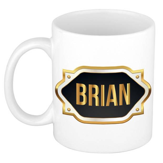 Brian naam cadeau mok / beker met gouden embleem - kado verjaardag/ vaderdag/ pensioen/ geslaagd/ bedankt