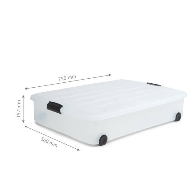 IRIS Clearbox onder-het-bed Opbergbox met half-te-openen deksel - 50 Liter