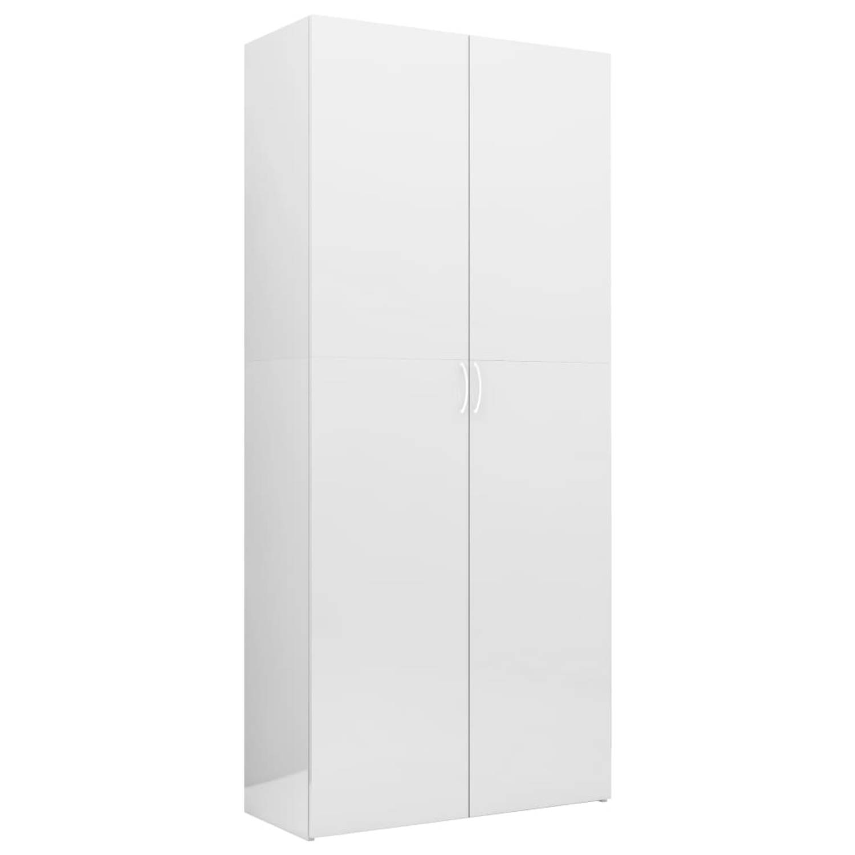 vidaXL Opbergkast 80x35,5x180 cm spaanplaat hoogglans wit