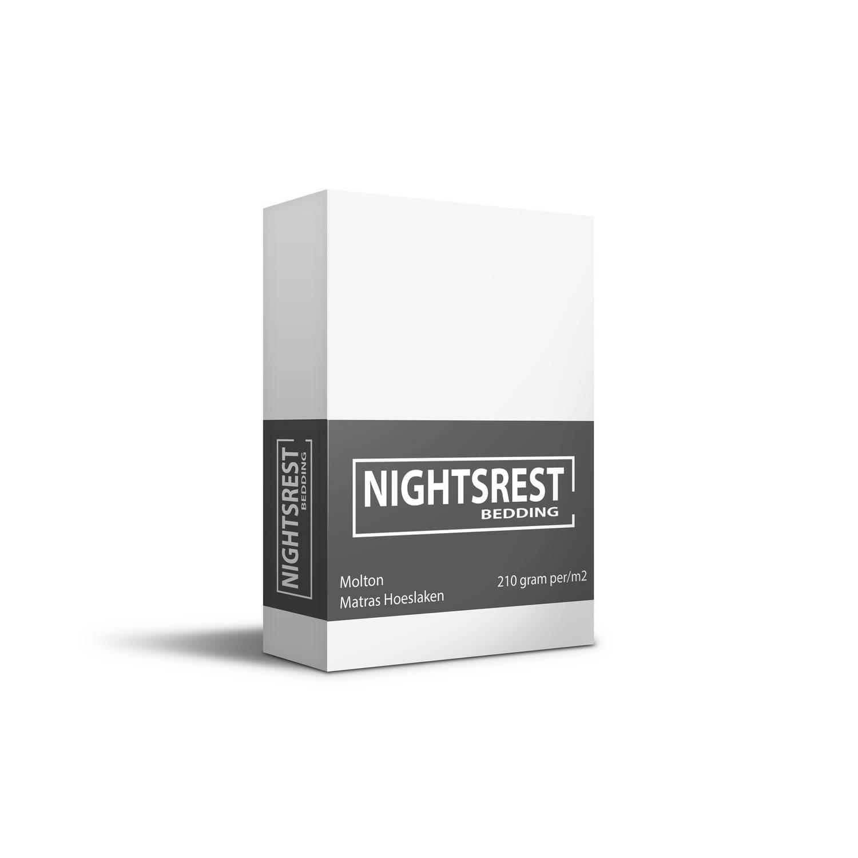 Nightsrest Matras Beschermer Molton Hoeslaken 210 Gram Per-m2 Wit Maat: 80-90x200+40cm