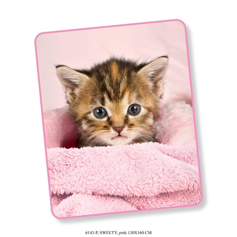 Korting Plaid Good Morning Polyester No.6143 Pink 130x160cm Maat 130x160cm