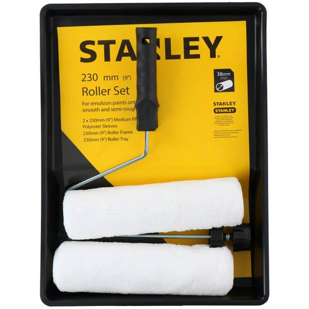 STANLEY Verfrollerset - 2 Polyester Verfrollers - 230 mm - 1 Verfbak - 1 Houder met Stop