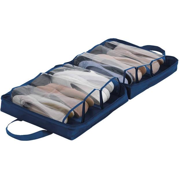 Wenko schoenenzak 37 x 15,5 cm polyester donkerblauw