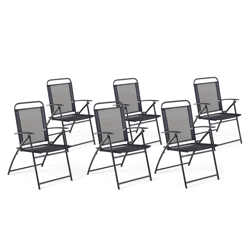 Beliani Livo - Tuinstoel Set Van 6-zwart-staal