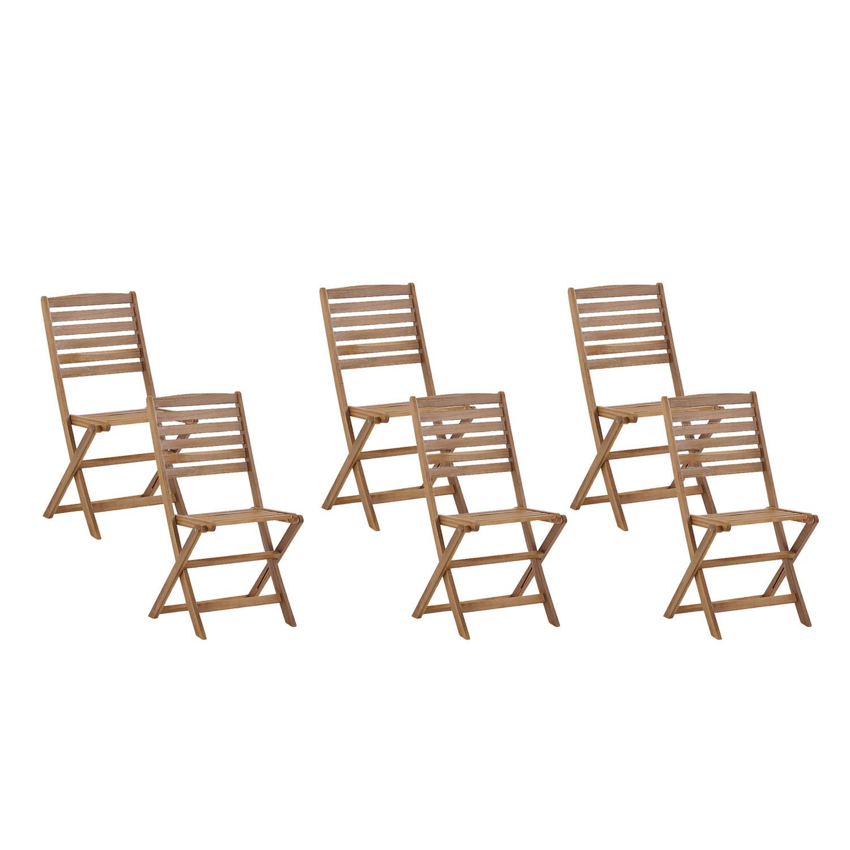 Beliani Tolve - Tuinstoel Set Van 6-lichte Houtkleur-acaciahout