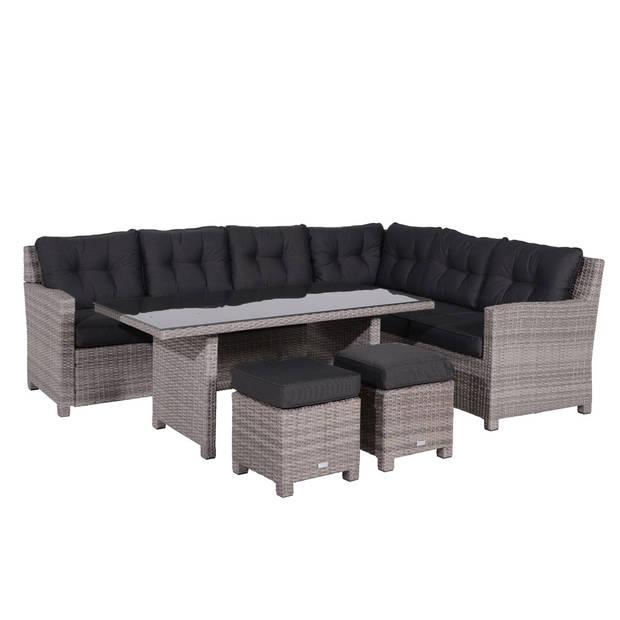Garden Impressions Jaru lounge dining set grijs incl. 2 krukjes rechts