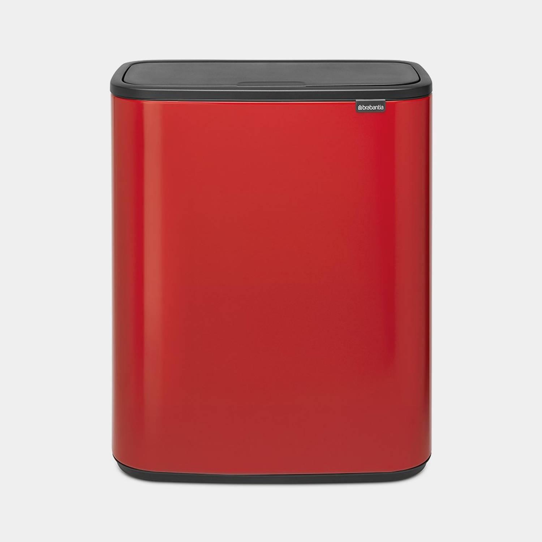 Brabantia Bo Touch Bin Afvalemmer 60 Liter Met Kunststof Binnenemmer - Passion Red