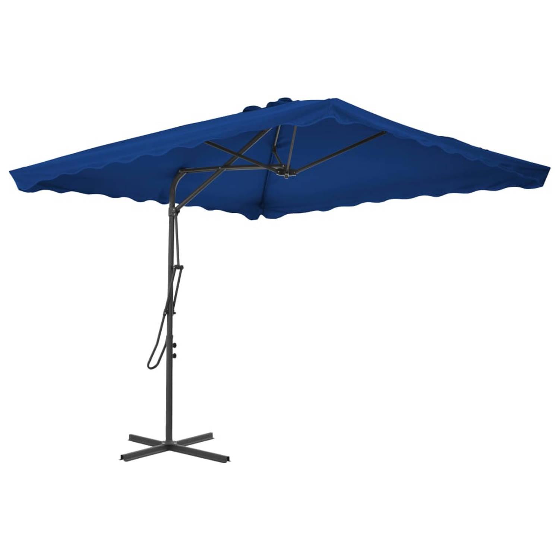 Vidaxl Parasol Met Stalen Paal 250x250x230 Cm Blauw