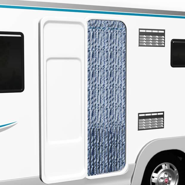 vidaXL Vliegengordijn 56x200 cm chenille blauw en wit