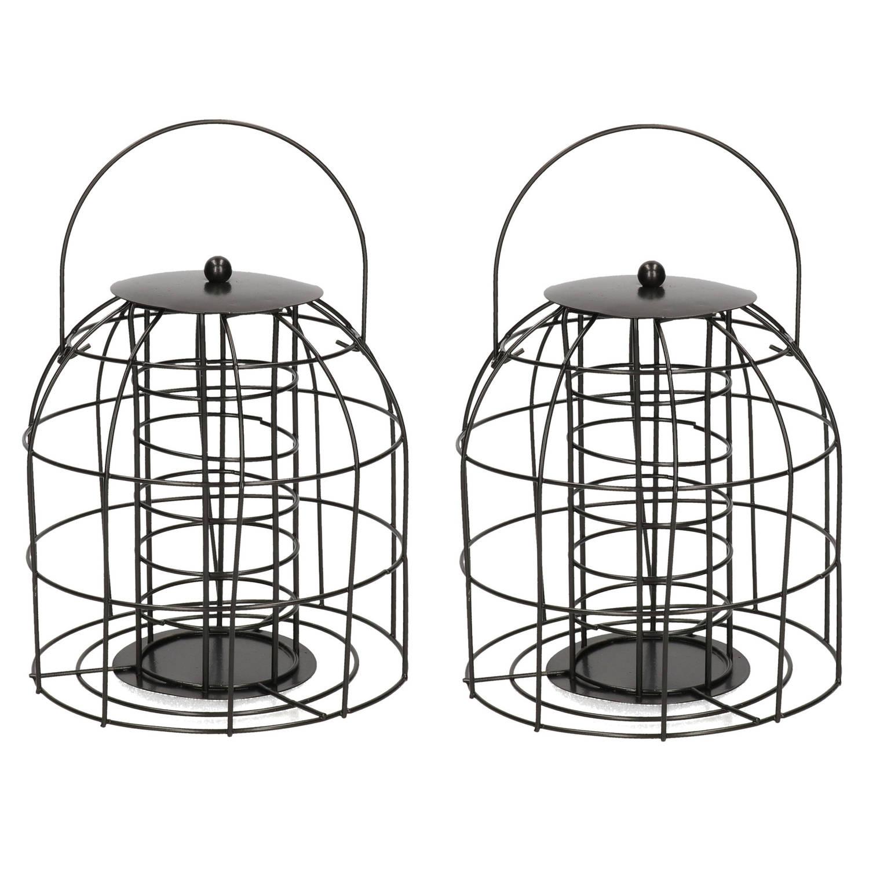 Merkloos 2x Vogel Voedersilo/voederkooi Voor Mezenbollen Metaal 18 Cm Voor Mussen/mezen Kleine Vogeltjes -Winter Voeder Huisjes online kopen