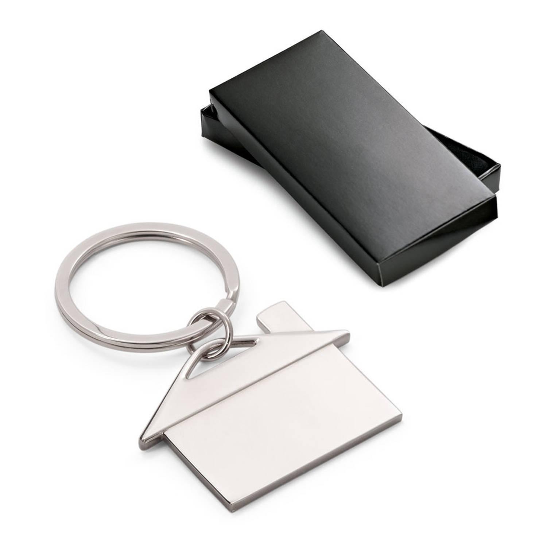 Korting 1x Sleutelhangers Met Huisje In Geschenkverpakking Aluminium 5 X 3,5 Cm Sleutelhangers Housewarming Cadeaus