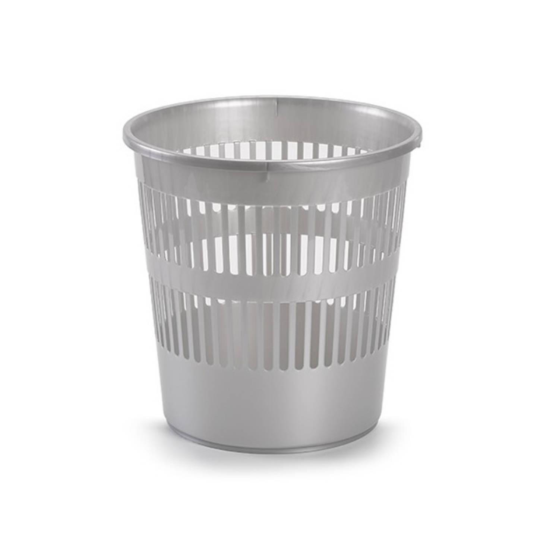 Afvalbak/vuilnisbak Plastic Zilver 28 Cm - Vuilnisbakken/prullenbakken - Kantoor/keuken/slaapkamer