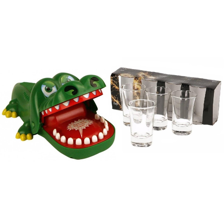 Vrijgezellenfeestje Drankspellen Bijtende Krokodil Met Kiespijn Inclusief 4 Stuks Gratis Shotglazen