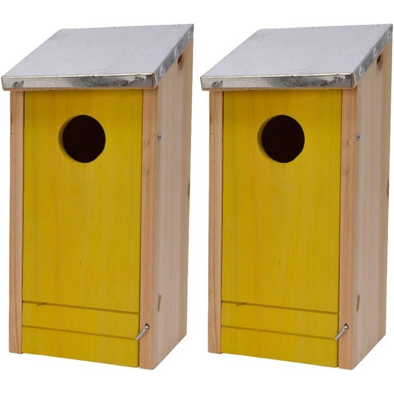 2x Houten Vogelhuisjes nestkastjes Gele Voorzijde 26 Cm Vogelhuisjes