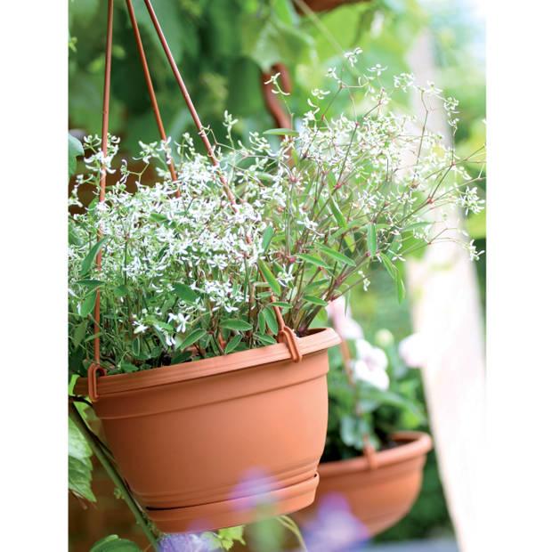 1x Stuks terracotta ophang bloempot/plantenpot kunststof met schotel 3 liter - 24 cm - Tuin hangdecoratie