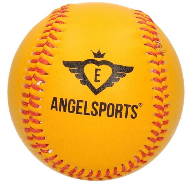 Honkbalknuppel kunststof zwart/rood 70 cm + honkbal/softbal oranje / geel 10 cm - Honkbalsets
