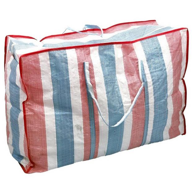 1x Kunststof raffia opbergtas voor dekens en kussens 80 x 31 x 60 cm - 149 liter - Big shoppers/reistassen