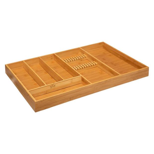 Decopatent® XXL Bamboe Bestekbak 6 Vaks + Messenblok voor 11 Messen -