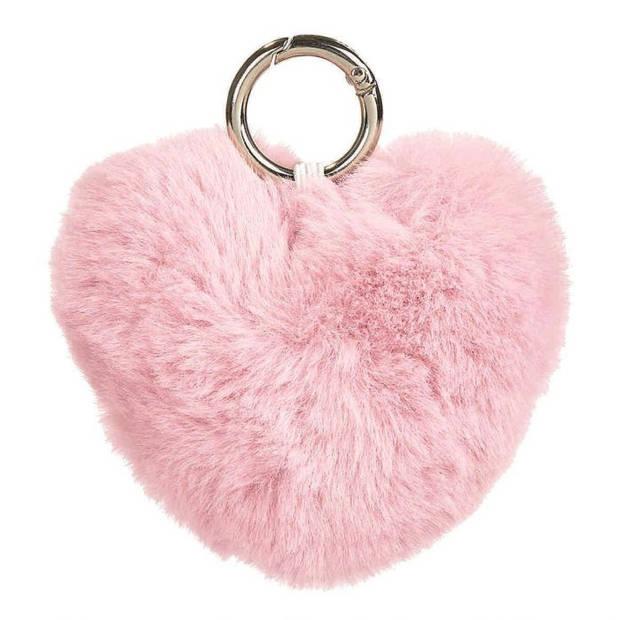 Moses sleutelhanger hart 9 cm pluche roze