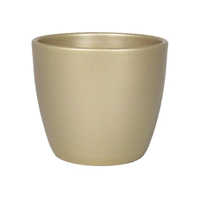Bloempot/plantenpot Van Keramiek In Het Parelgoud D32 En H27 Cm?- Binnen Gebruik - Gladde Afwerking