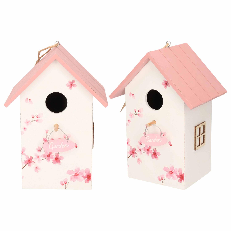 Merkloos 2x Nestkast/vogelhuisje Hout Wit Met Roze Dak 15 X 12 X 22 Cm online kopen
